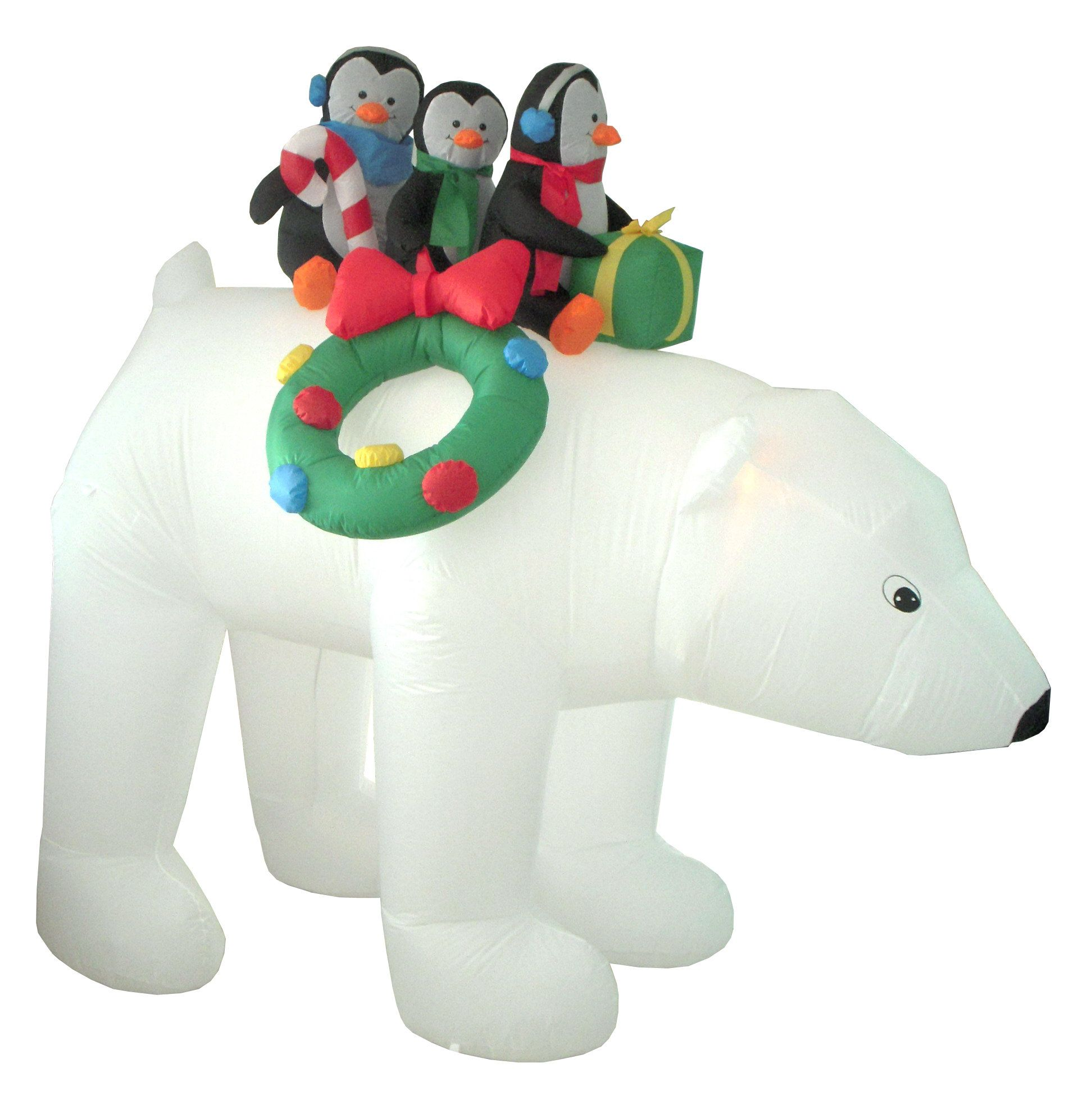 Christmas Inflatables Penguins on Polar Bear Decoration | Products ...