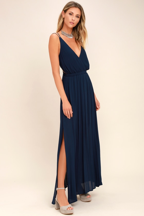 Lulus   Lost in Paradise Navy Blue Maxi Dress