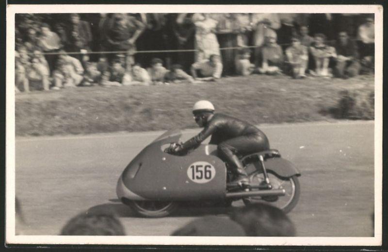 Fotografie Ansicht Mv Augusta Rennfahrer Hobel Auf Rennmotorrad