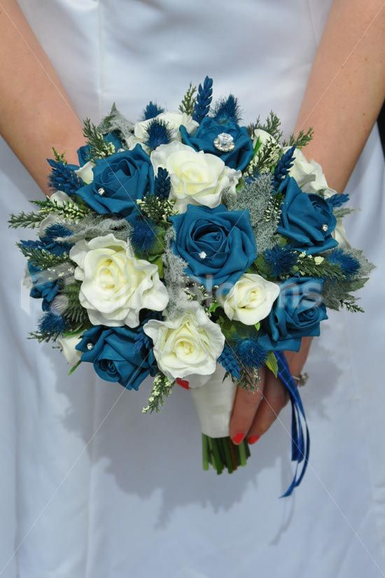 Romantic Scottish Inspired Artificial Teal Rose Thistle And Heather Wedding Bridal Bouquet Romanti Blue Roses Wedding Bridal Bouquet Blue Teal Wedding Flowers