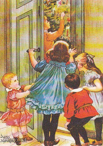 Jenny Nyström Lapset kurkki ovella taittokortti 8,1 - Huuto.net