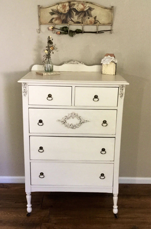 Creamy White Dresser Tall Narrow Bedroom Dresser Farmhouse Dresser Country Cottage Shabby Chic Dresser With Shabby Chic Dresser Bedroom Dressers White Dresser [ 3000 x 1977 Pixel ]