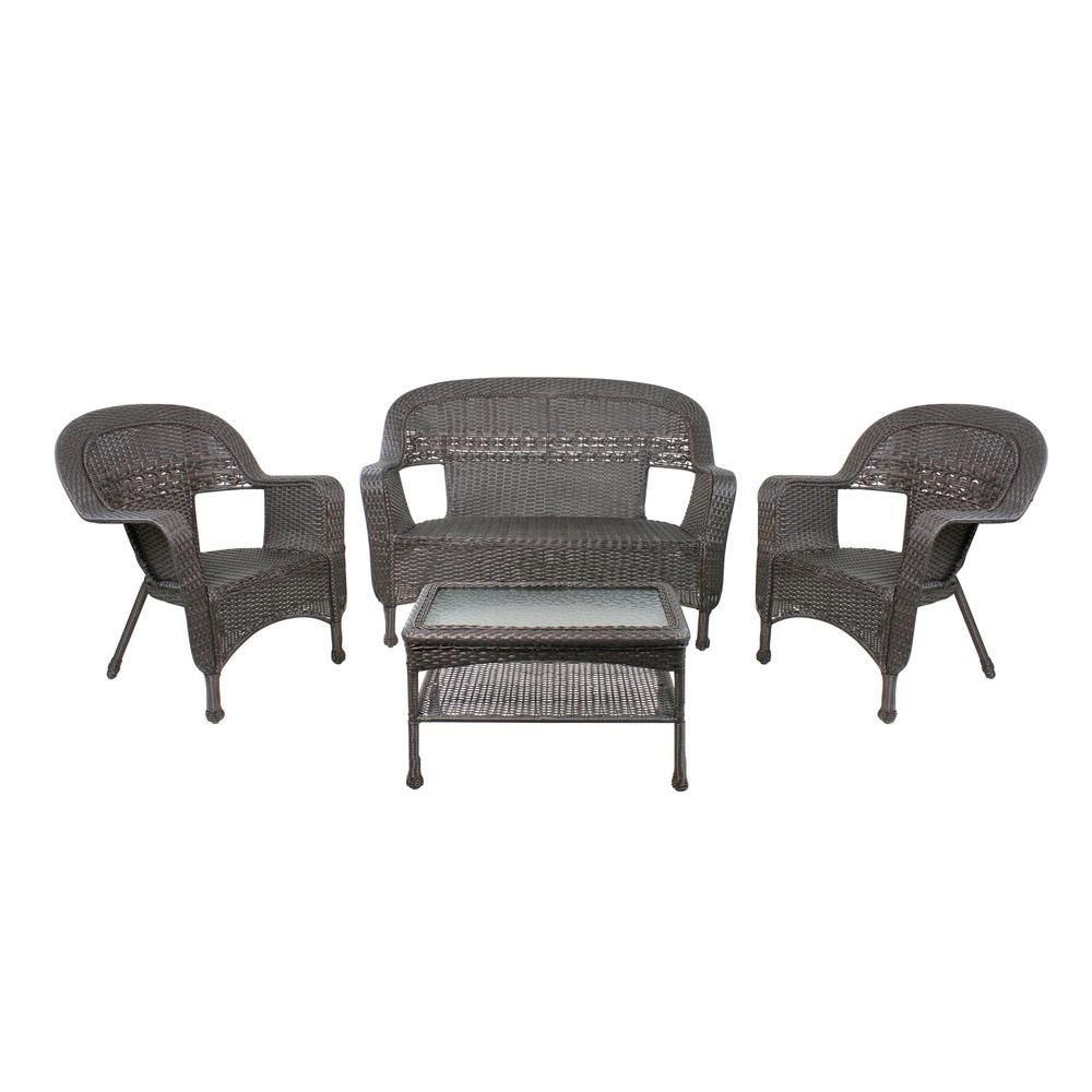 Northlight 52 in. 4-Piece Brown Steel Resin Wicker Outdoor Patio Furniture Set