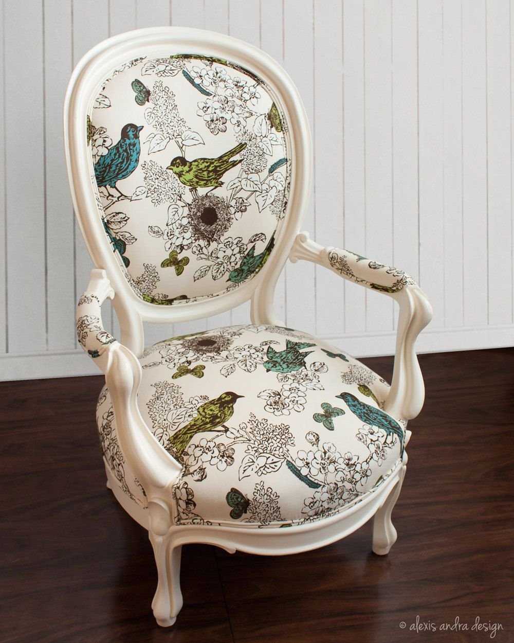 Antique Victorian ArmChair   Classic Unexpected Cream Vintage Blue Green  Teal White Whimsical Romantic French Country
