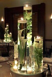 Extra Tall Glass Cylinders With Floating Candles And Calla