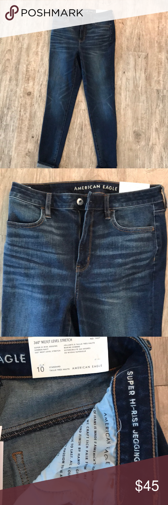 77d028d2fff12 American Eagle super hi-rise jegging American Eagle 360 Next level stretch  super hi-rise jegging. New with tags. Color is somber navy.