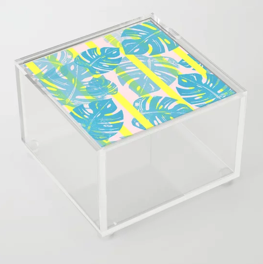 """Linocut Monstera Neon"" Acrylic Box by Bianca Green on Society6 