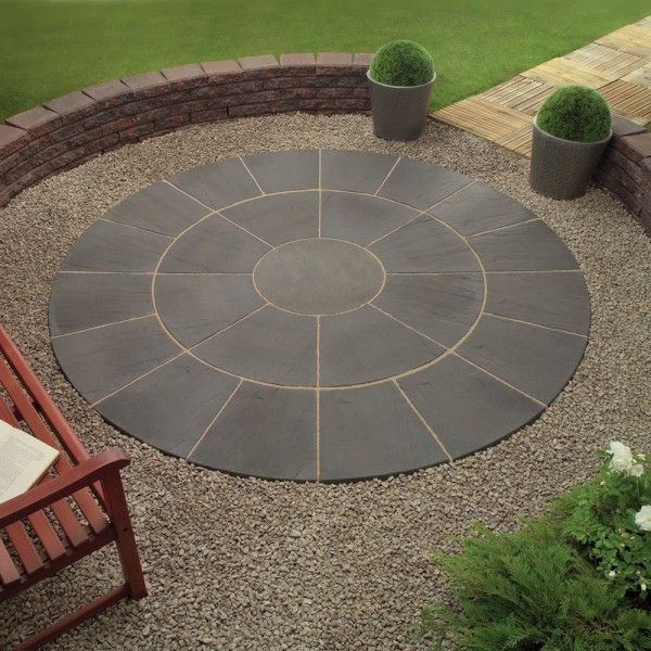 image of enthralling circle patio paver designs from charcoal grey ... - Patio Pavers Designs