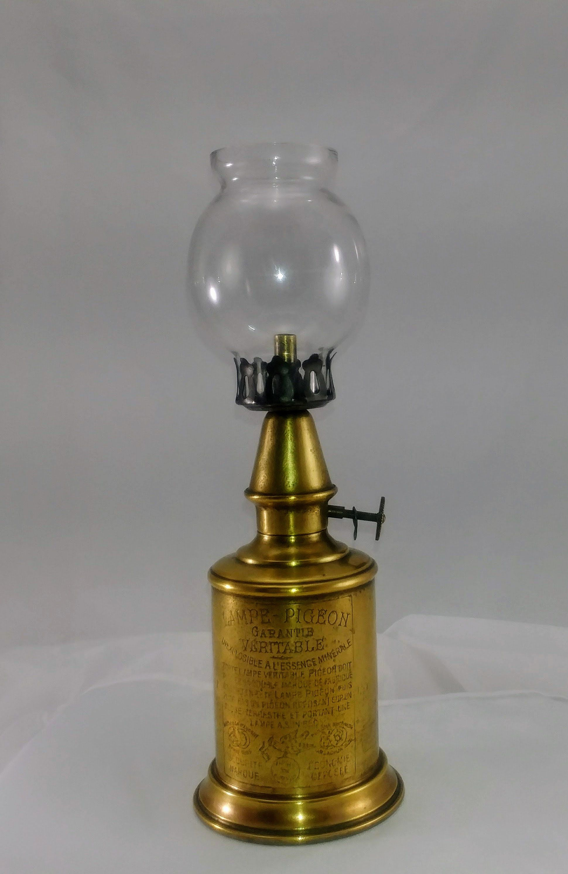 Vintage Brass Oil Lamp French Brass Lampe Pigeon Kerosene Oil