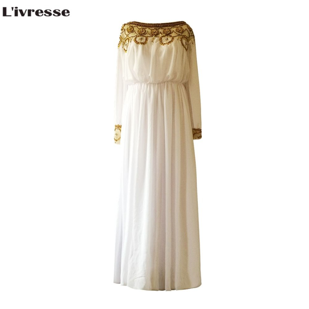 Click to buy ucuc luivresse luxury ivory chiffon hand made gold