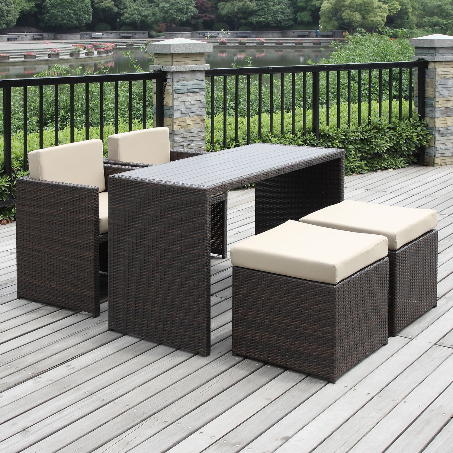 Create livable outdoor space with this stylish resin wicker table