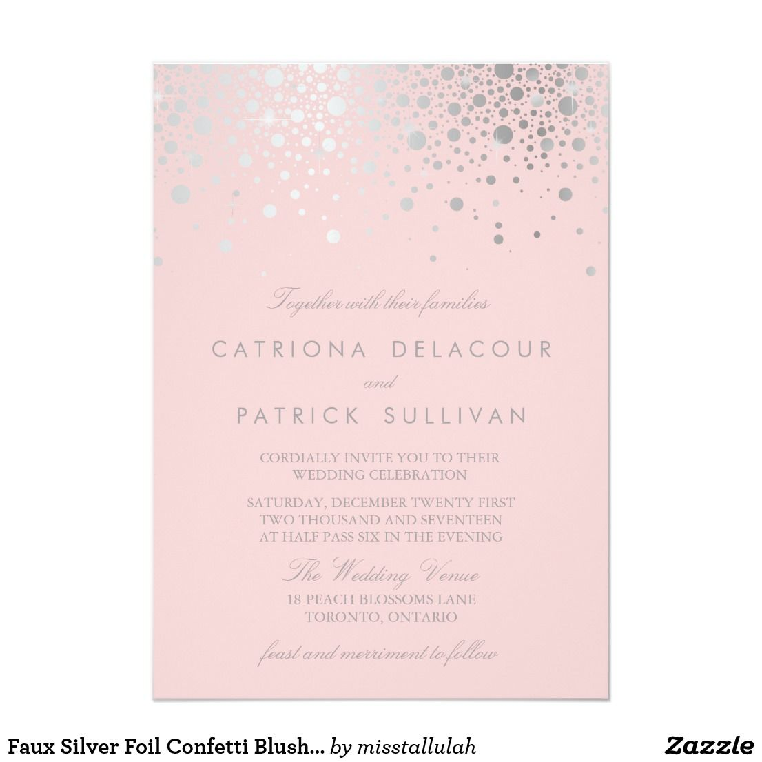 Faux Silver Foil Confetti Blush Pink Wedding | Wedding and ...