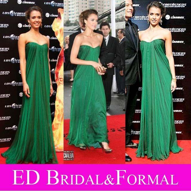 Jessica Alba Forest Green Dress at Fantastic Four Premier Empire ...