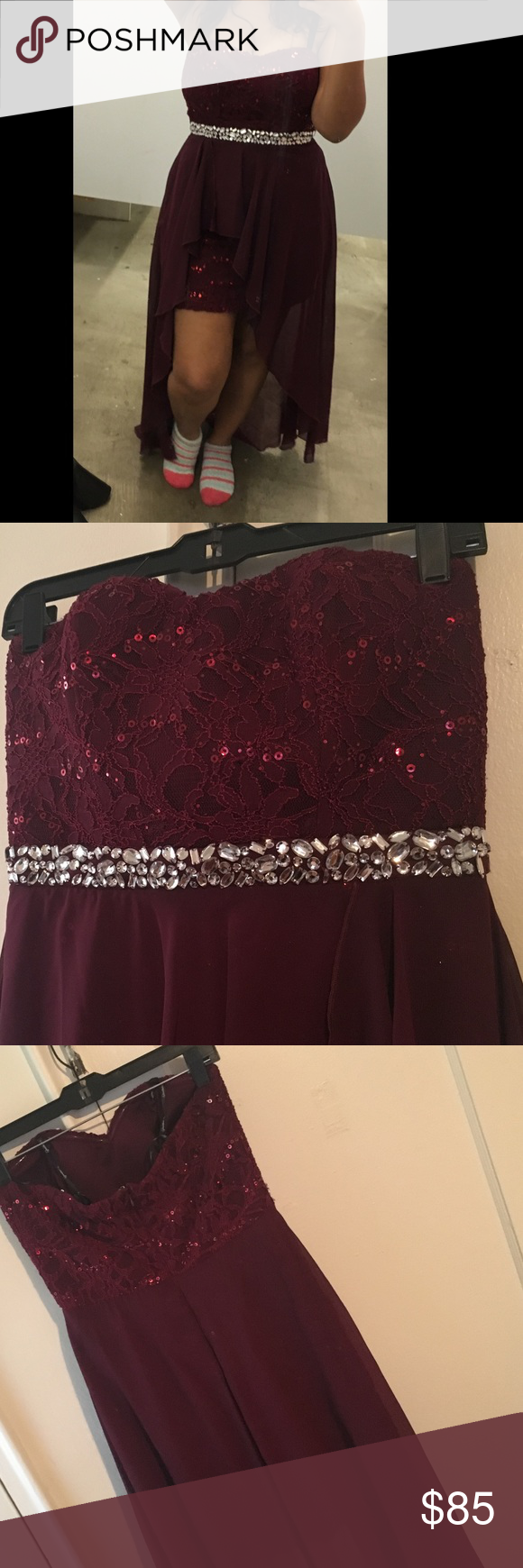 Evening dress dark red evening dress with silver ort in the