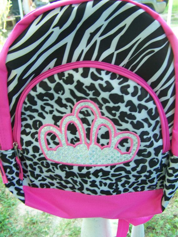 Personalized Princess crown backpack. Zebra by chinaberrycreek ... a77c1f3c2a6c6