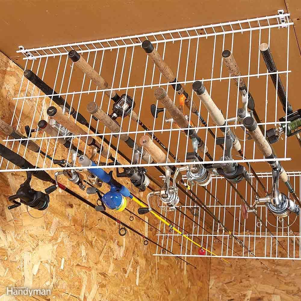 18 life changing organizing ideas for hard to store stuff for Fishing wire through ceiling
