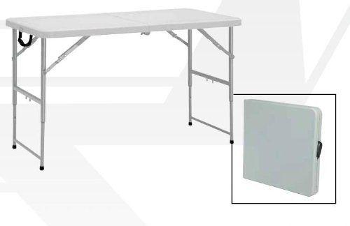 Work Smart Resin Multi Purpose Height Adjustable Center Folding Table,  4 Feet Long