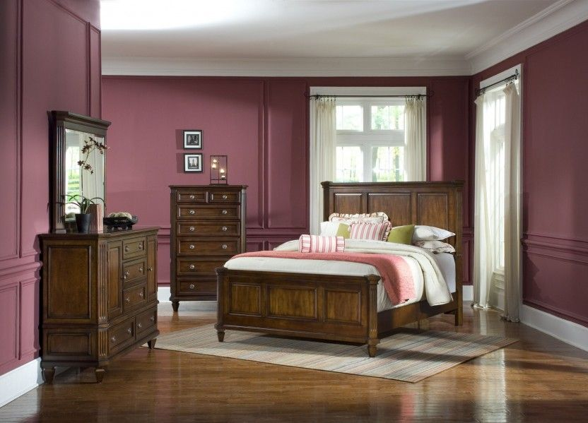 Master Br Brown Wood Floor Dark Brown Wood Furniture Purple Walls White Curtains Bedroom