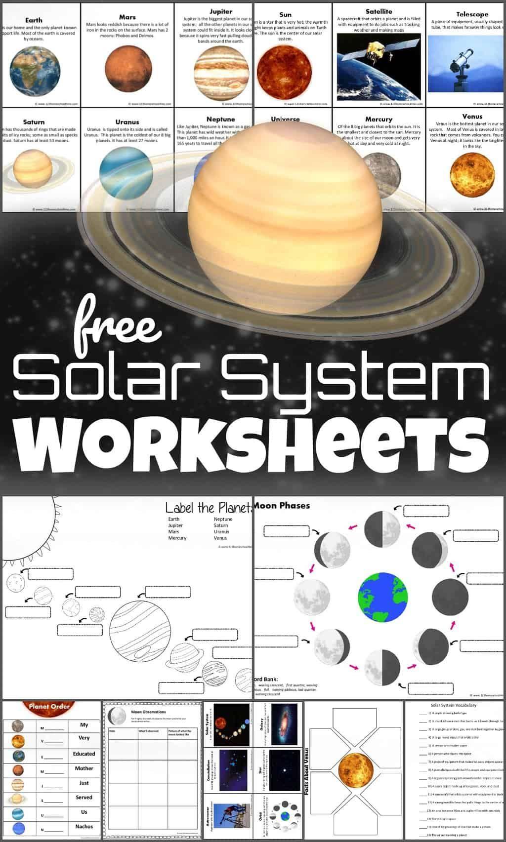 Free Solar System Worksheets In 2020 Solar System Worksheets Solar System Printables Solar System For Kids