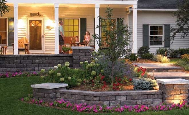 Retaining wall planting area with seating or additional ...