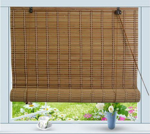 Natural Roman Outdoor Bamboo Window Shade Curtain Roll Up Blind Patio Sun Screen Outdoor Blinds Bamboo Window Shades Patio Blinds