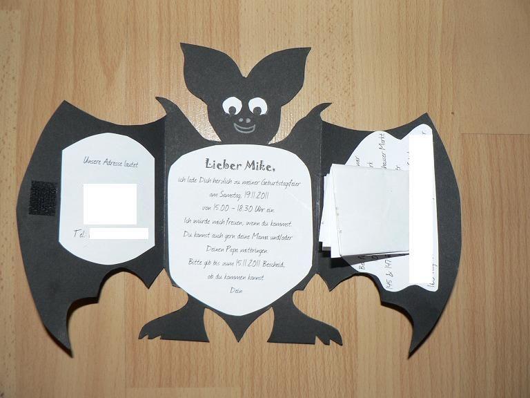 basteltante fledermaus einladungen geburtstag feiern. Black Bedroom Furniture Sets. Home Design Ideas