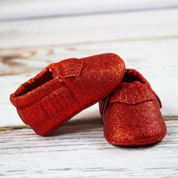 Glitter Red Baby Moccasins  9b49ba486