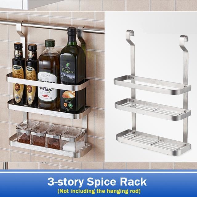 Stainless Steel Kitchen Shelf Rack Diy Wall Hanging Storage