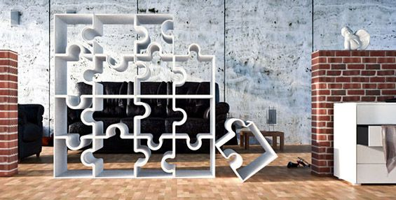 Creative book shelves- jigsaw pieces..