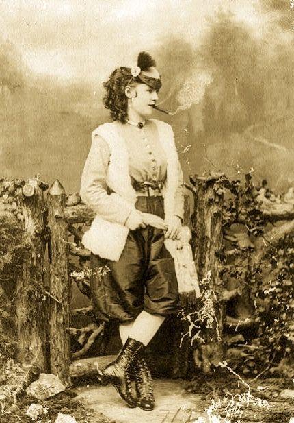 Actress Lotta Crabtree smoking a cigar. C.1868.