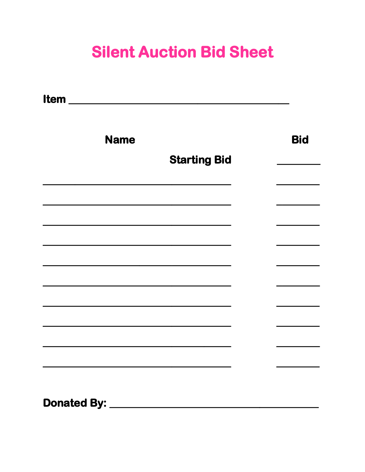 sample bid sheet Silent Auction Bid Sheets | Party Planning ...