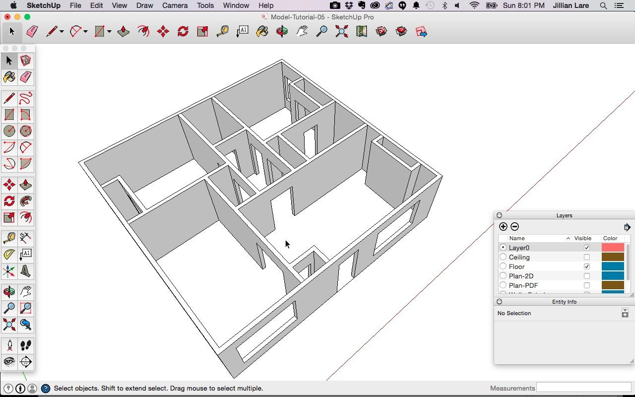Draw a 3D House Model in SketchUp from a Floor Plan