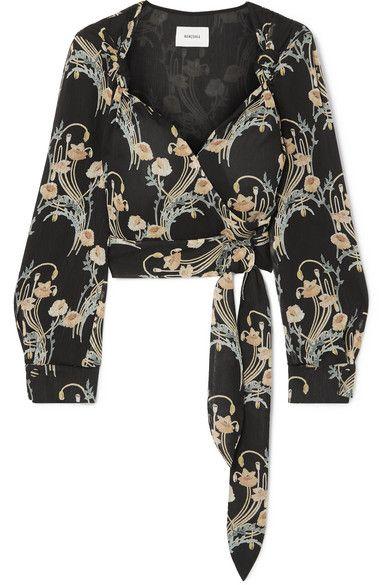 6e61005a40b737 Nanushka - Selena Floral-print Crepon Wrap Top - Black in 2019 ...