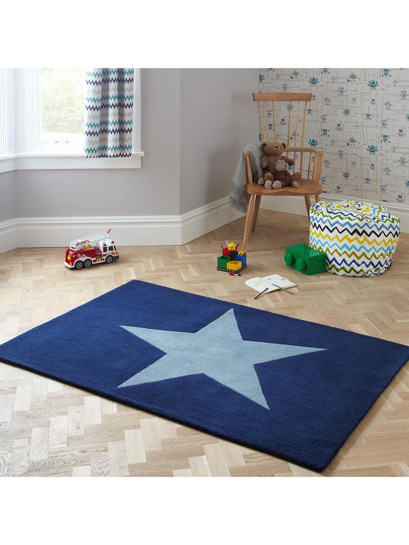 Little Home At John Lewis Star Children S Rug Blue L170 X