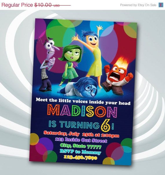 ON SALE Inside Out Invitation Inside Out By Ticketparty - Birthday invitations inside out