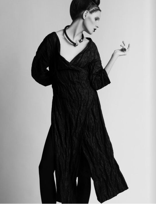 """Chess novella"" (Editorial on Nu-Mode´ Magazine (New York) October 14). Photo - Dmitry Nevlad, model - Ella Zadavysvichka (Linea 12), style - Sonya Matveeva, make-up - Natalya Goncharenko, hair - Maryna Trofimets, long blouse - LARA QUINT.  #LaraQuint #fashion #style #editorial #fashionphoto #fashionphotography #model #blouse #totalblack #trend #collection #outfit #look"
