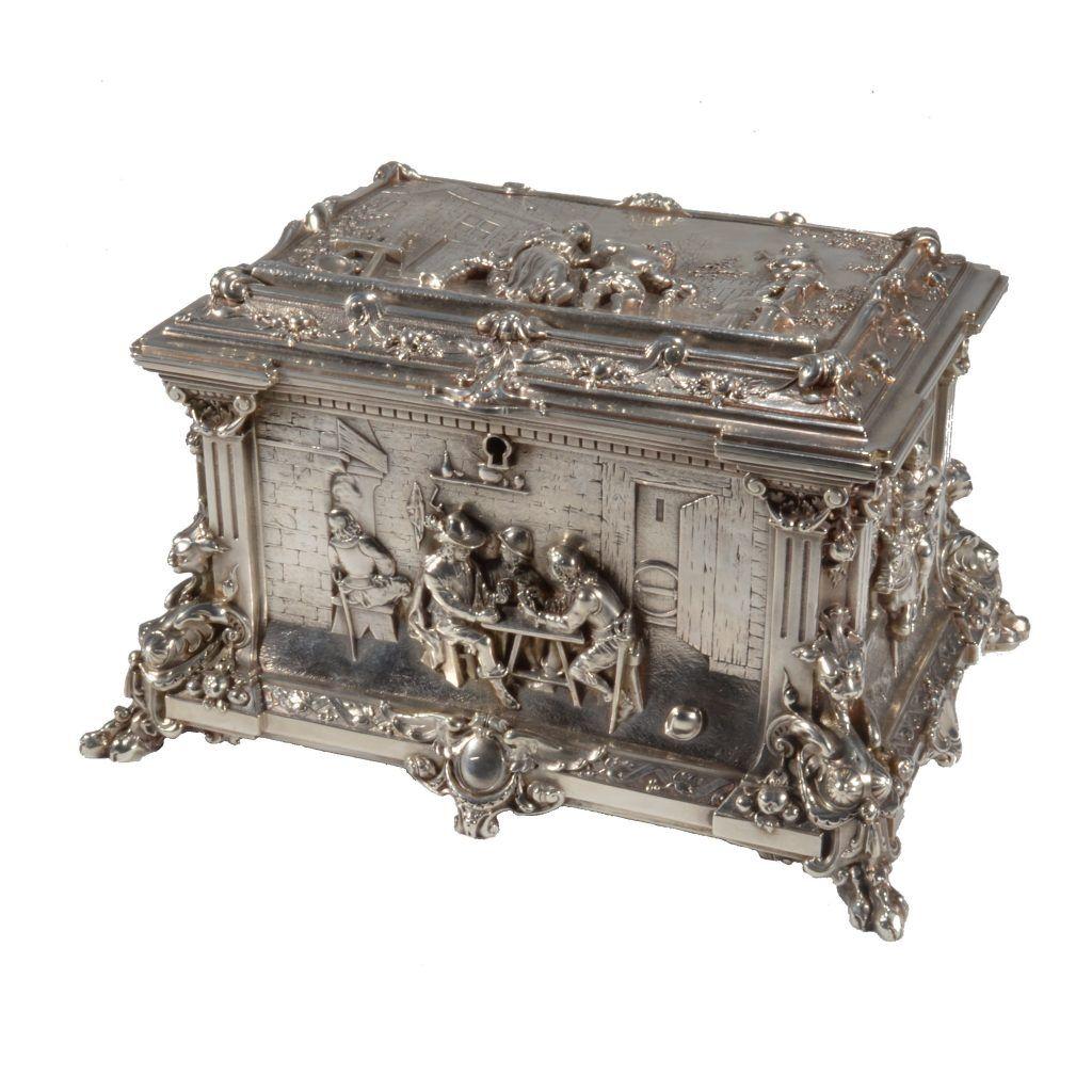 Antique dutch silver plated wedding casket casket