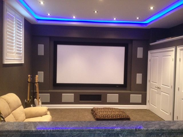 Basement Home Theatre Ideas Property home theater room design |blue light design is fun! | home decor
