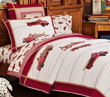 I Love The Trucks And Ladders Quilted Bedding On Potterybarnkids