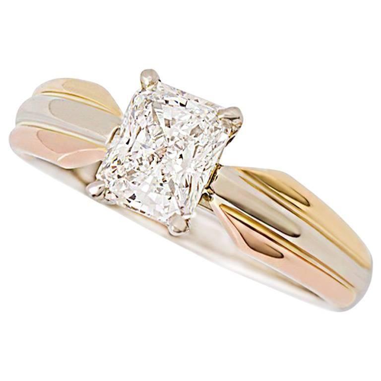 Cartier Diamond Tricolor Gold Trinity Ring | 1stdibs.com