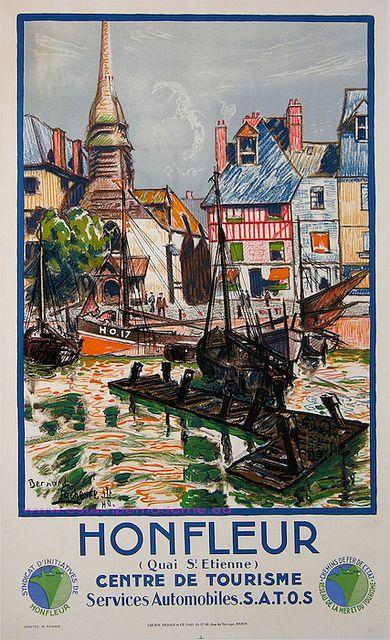 illustration : affiche de tourisme, Lachevre, 1930, Honfleur, Normandie