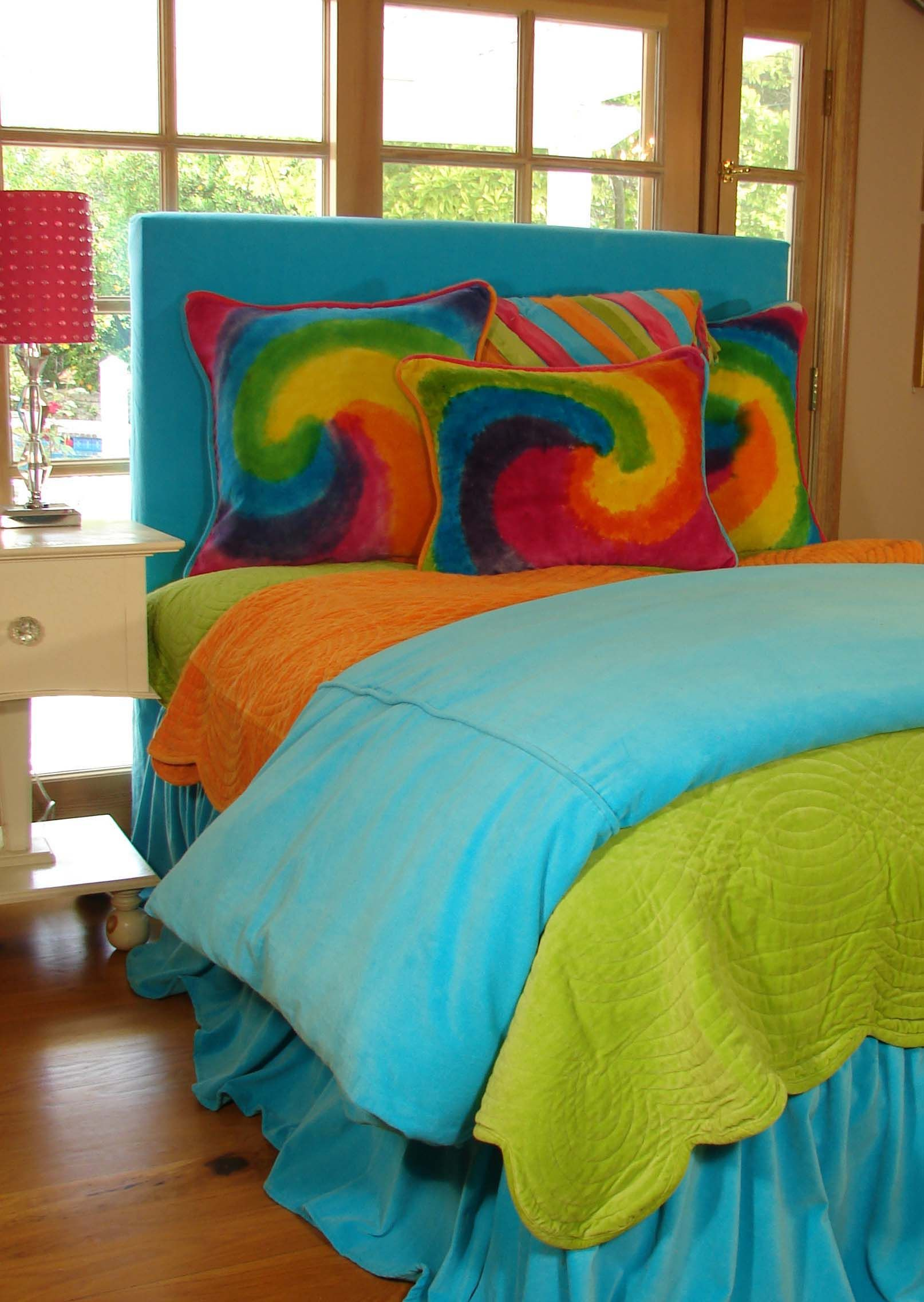 Teen Bedding In Bright Colors And Tie Dye Teen Bedroom