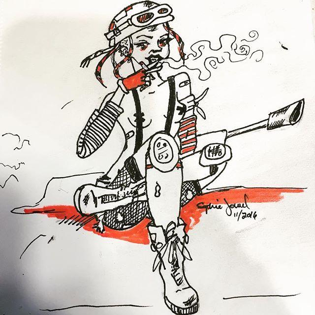 Tank girl #inktober catchup! Surprised I haven't drawn her yet... 👄💣🚬☠🔫✂️💔☢ #illustration #pinup #rockabilly #tankgirl #badassbitch