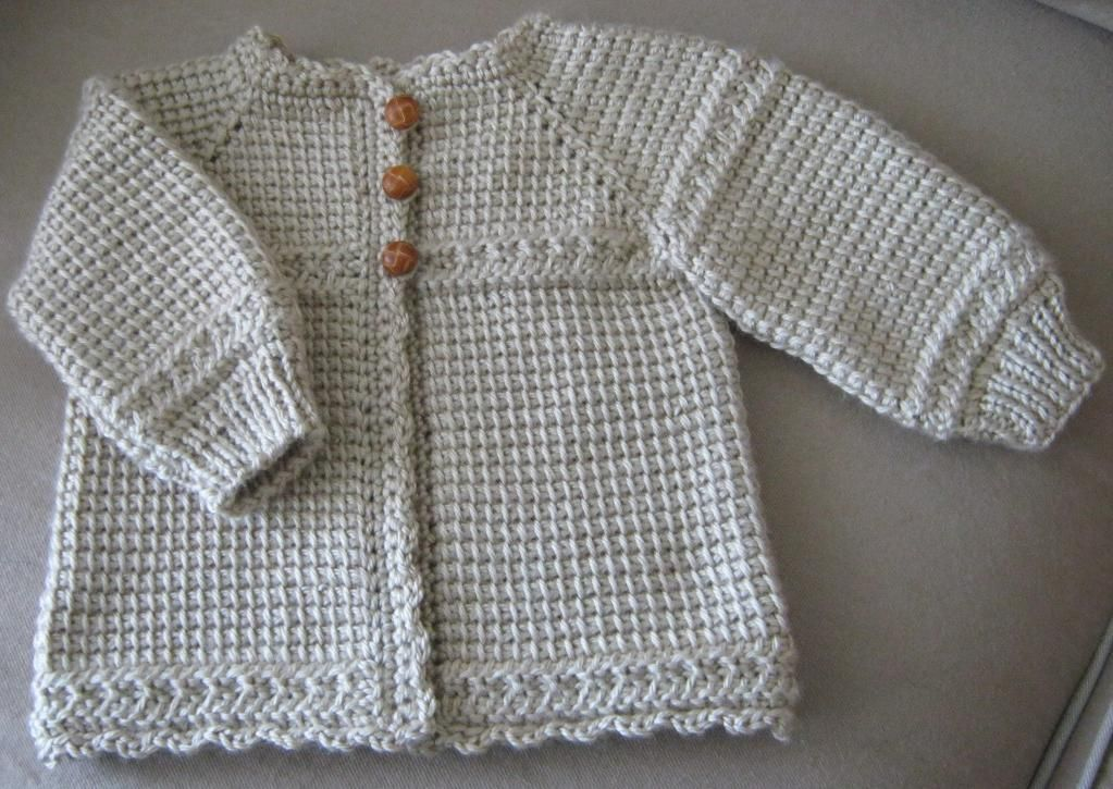Newborn Crocheted Hooded Sweater Pattern Tunisian Crocheted Baby