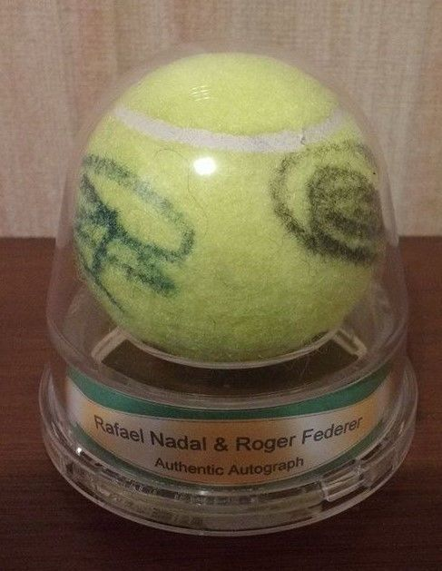 ROGER FEDERER \ RAFAEL NADAL Signed Ace Authentic Tennis Ball 2 - why is there fuzz on a tennis ball