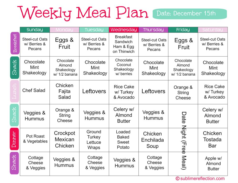 Clean Eating Meal Plan 2 Sublime Reflection Healthy