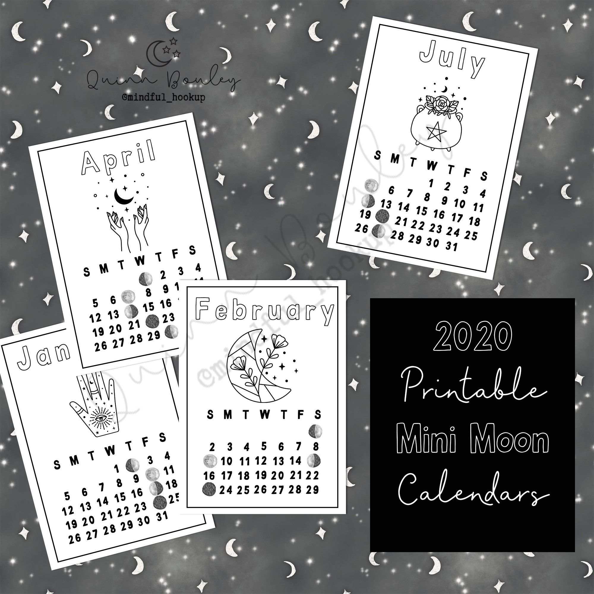 Mini Moon Calendars Printable