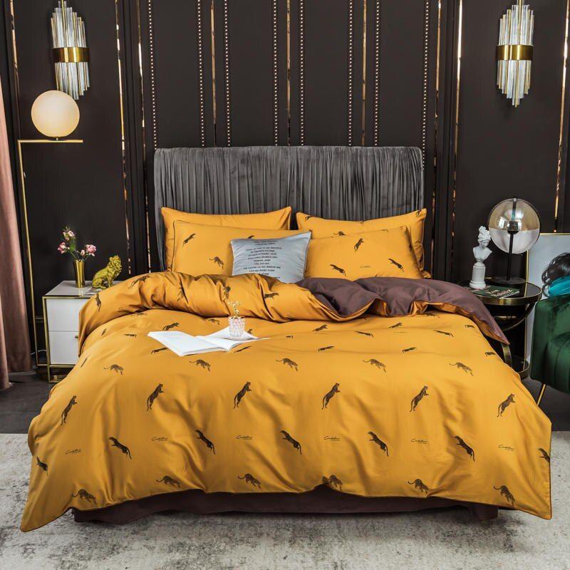 100 Cotton Bedding Set Long Staple Cotton Yellow Duvet Cover Sheet Pillowcase King Size Bed Linen Sets Reactive King Size Bed Linen Yellow Duvet Bed Linen Sets