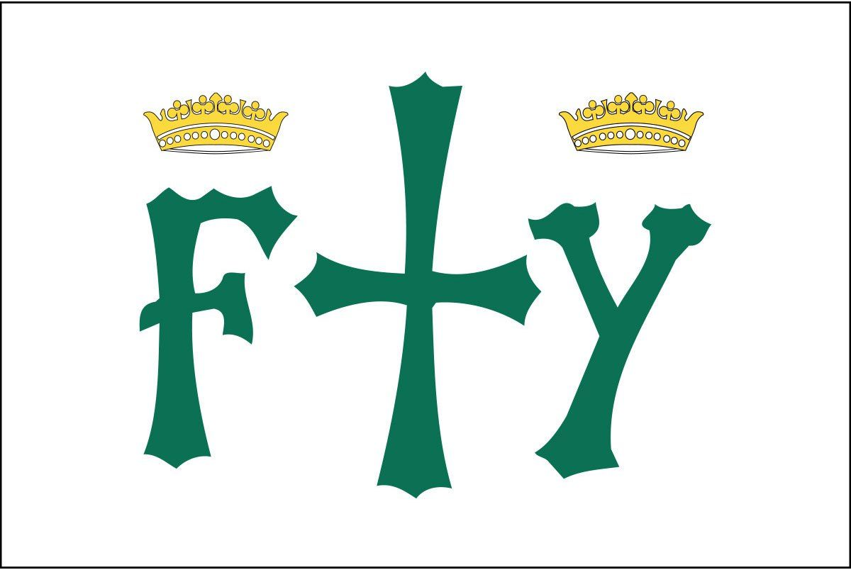 The Columbus Flag Consisted Of A White Flag Background With A Green Cross Having On Each Side The Letters F And Y Surmounted By G Flag Background Flag History