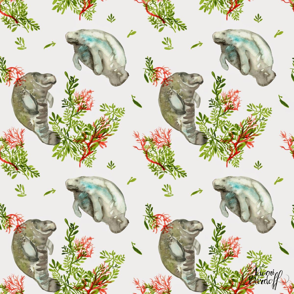 Naomese Naomi Bardoff S Art Blog Manatee Seaweed And Coral Print Tiled Desktop Background Free Download Art Blog Manatee Art Manatee Pictures